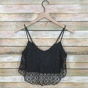 American Dream Black Lace Bow Back Crop Top - XS